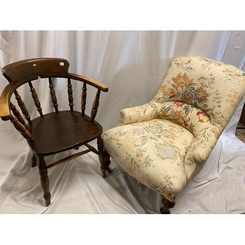 31 - A Victorian low seat chair on turned legs terminating in white pot castors and an elm captain's styl...