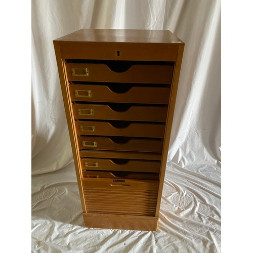 37 - A light wood filing cabinet with tambour front - 17 1/2in. wide and a brass 4ft. 6in. bedstead