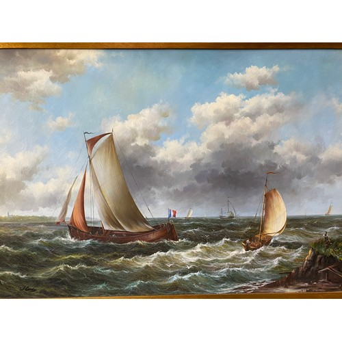 4 - W. Candy.  A modern oil on canvas - French fishing boat and dinghy on a rough sea off the coast, gil...