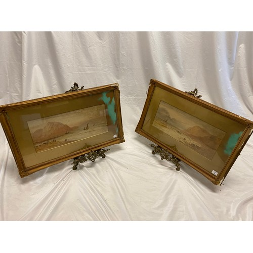 7 - W.H Earp.  A pair of signed watercolours - Rottingdean Sussex and Portabello Sussex, gilt mounted, f...