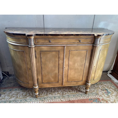 52 - A Maitland Smith reproduction side cabinet with marble style top, fitted frieze drawer above two pan...