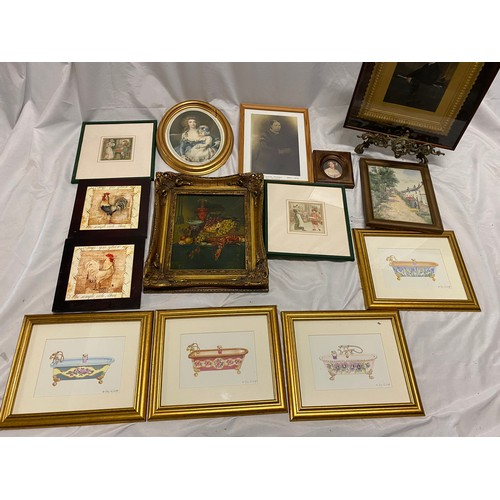 18 - A quantity of pictures including a Victorian oil - Portrait of a seated gentleman, in a gilt mount, ...