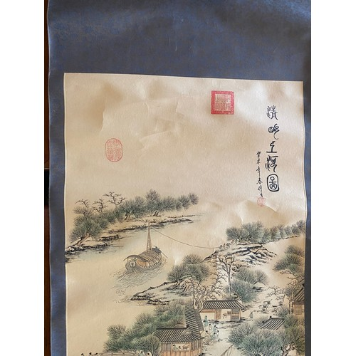 6 - Two Chinese scrolls, one depicting a landscape, the other horses