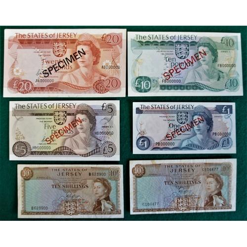 9 - Set of four Jersey specimen banknotes, plus two ten shilling notes (6)....