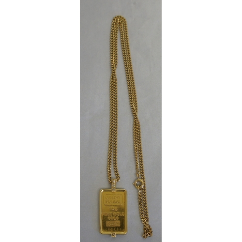 38 - Credit Suisse 22 ct gold and four diamond pendant on chain, weight of pendant 10 grams....
