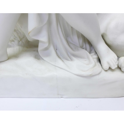 766 - A large Minton parian figure group, The Lion in Love, 40.5cm, a/f (chip to base and large crack and ...