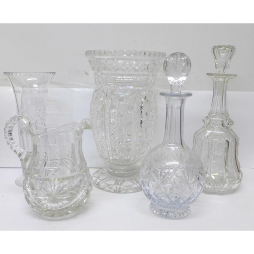 767 - Two crystal decanters, two crystal vases and cut glass jug...