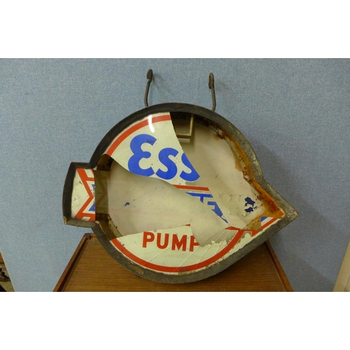 342 - A rare Esso High Test Pump double sided advertising sign, one side a/f...
