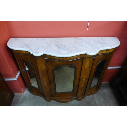 88 - A Victorian inlaid walnut and marble topped credenza...