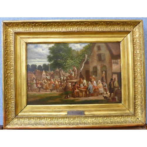 3 - J. G. Buisson (Dutch 1780-1830), merry figures by a tavern, oil on mahogany board,  28 x 43cms, fram...