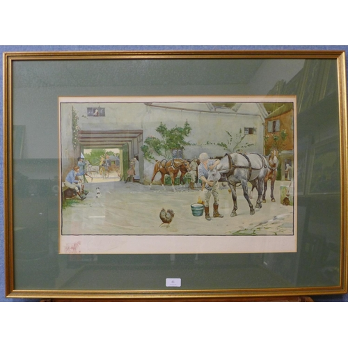 21 - A signed Cecil Charles Windsor Aldin print, The Exeter Road, The White Hart At Hook, with Lawrence &...
