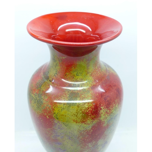 602 - An E.R. Wilkes New Spectria flambe vase, circa 1920, signed to the base, 21.5cm...