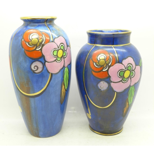 603 - Two Charlotte Rhead Bursley Ware vases, 1543 painted marks, 18cm and 16cm...