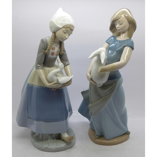 608 - A Nao figure, Country Girl with Rabbit, a/f and a Lladro figure, Dutch Girl with Duck...