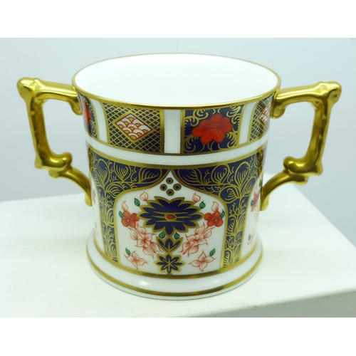 623 - A Royal Crown Derby Old Imari 1128 pattern loving mug, boxed...