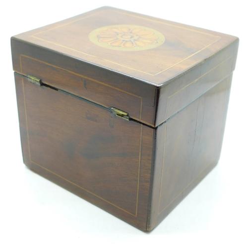 626 - A 19th Century tea caddy, hinge a/f...