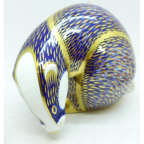 635 - Five Royal Crown Derby paperweights, including Badger and Hedgehog, Badger with gold stopper...
