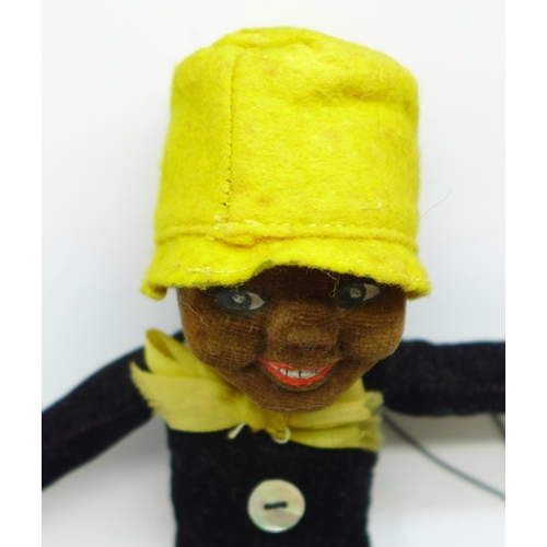 638 - Three 1930's cloth and felt figures, Doc, dog and Nora Wellings type black doll...