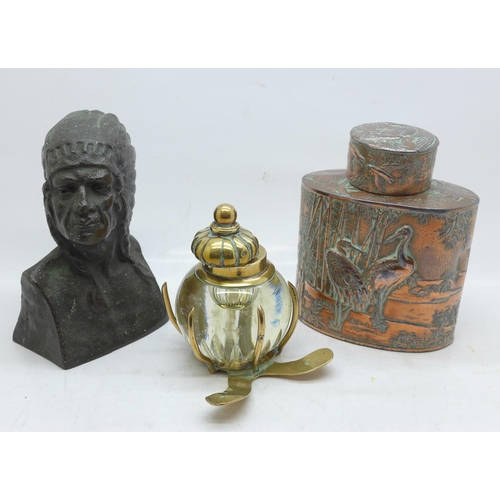 648 - A Chinese embossed copper plated tea caddy, a bronze bust of a Native American and a brass and glass...