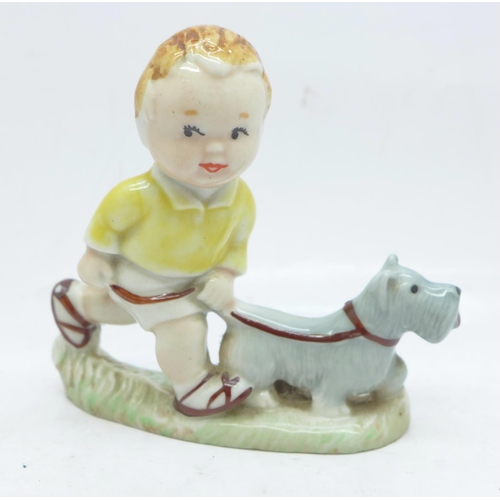 655 - A Wade Mabel Lucie Attwell figure, Sarah with pet dog...