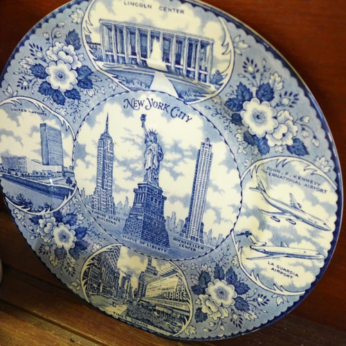 656 - China including a blue and white transfer printed plate of New York City, a Royal Doulton large char...