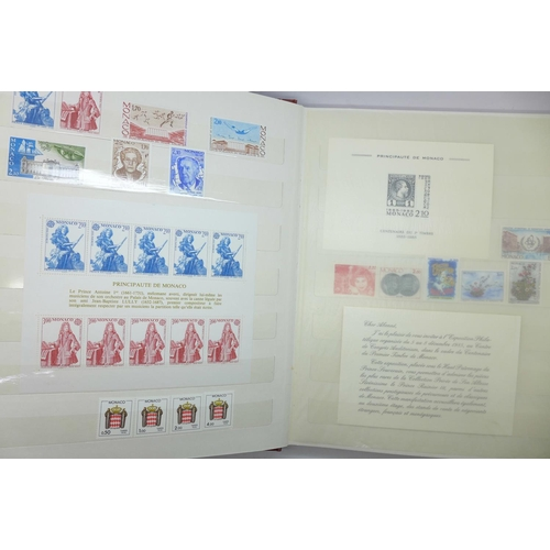 661 - Stamps:- Monaco and France unmounted mint stamps from the 1980's, high catalogue value...