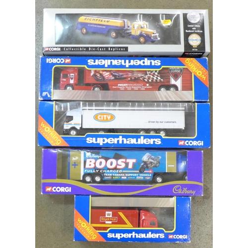 753 - Five model lorries, including three Corgi Superhaulers, boxed...