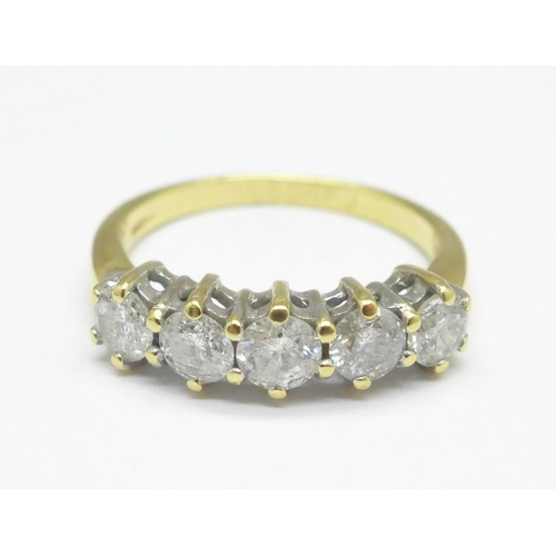 964 - An 18ct gold and five stone diamond ring, 1.0carat marked on the shank, 3.5g, M...
