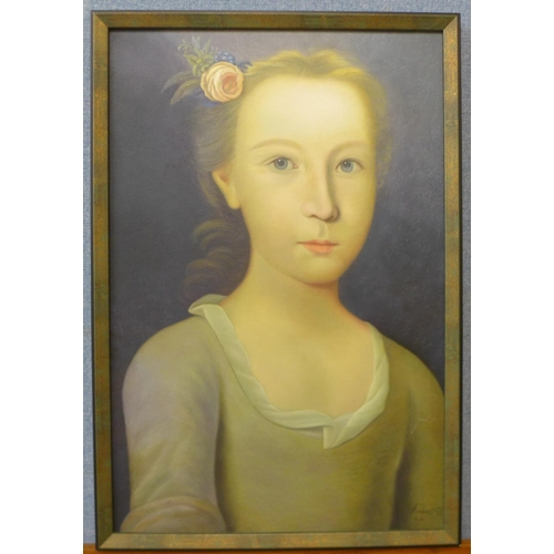 10 - Half portrait of a young lady, oil on canvas, indistinctly signed, framed...