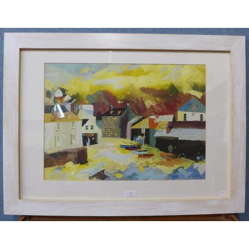 11 - A Richard Tuff harbour landscape print, 38 x 52cms, framed...