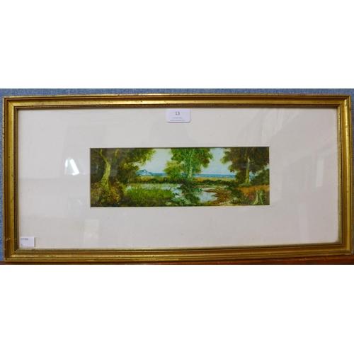 13 - M.J. Noonan, river landscape, oil on panel, 9 x 29cms, framed...