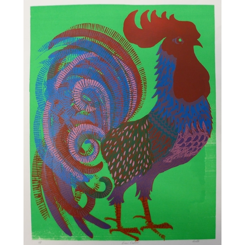 14 - A signed Pamela Guille limited edition screen print, Green Cockerill, 43 x 34cms, unframed...