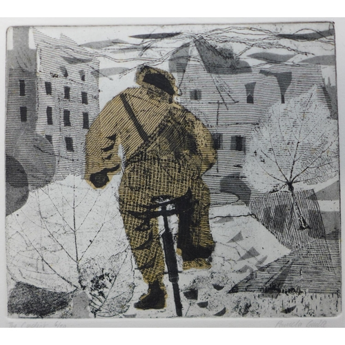 17 - A signed Pamela Guille limited edition etching, The Cyclist, 17 x 20cms, unframed...