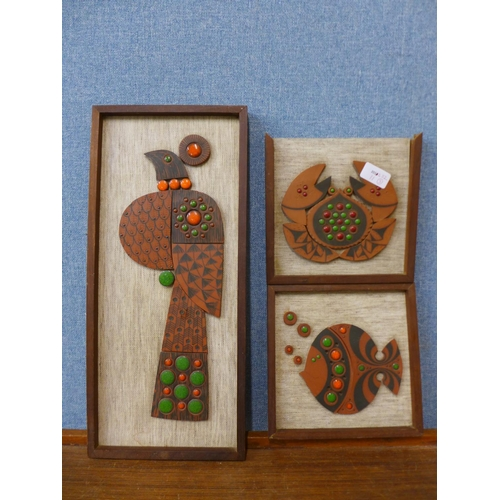 22 - Three Hornsea Pottery Muramic wall decorations, one a/f...