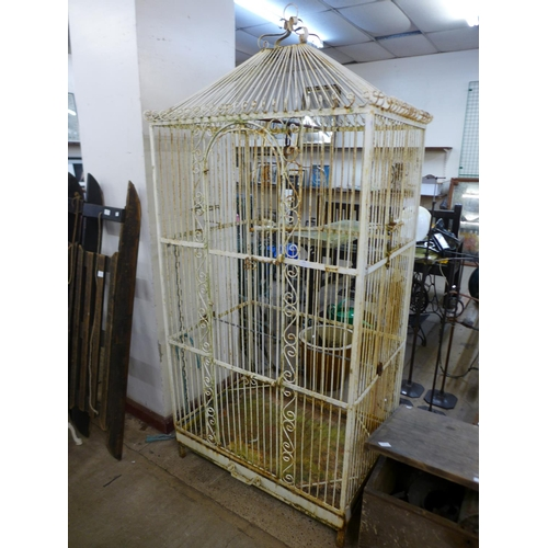 275 - A large wrought iron linnet cage...