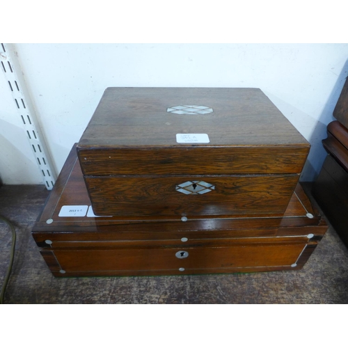 342a - A large Victorian oak and mother of pearl writing slope and a rosewood box...