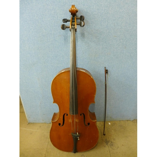 345 - A cello with bow...