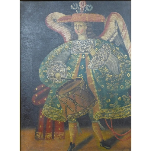 4 - A 16th Century style portrait of a boy with drum, oil on canvas, 38 x 28cms, framed...