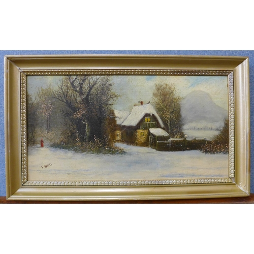 5 - Francis Wells, winter scene, North Wales, oil on canvas, 26 x 50cms, framed...