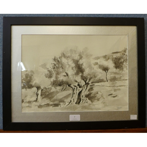 7 - A contemporary landscape, watercolour, indistinctly signed, 28 x 38cms, framed...