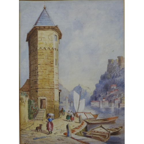 8 - Attributed to Charles A. Richards, North Italian lake scene, watercolour, 38 x 27cms, framed...