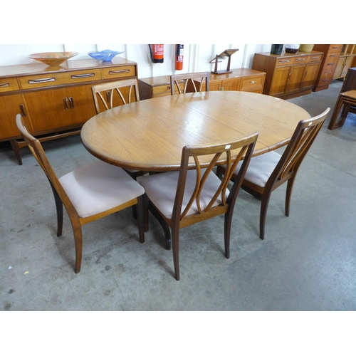 96 - A G-Plan Fresco teak extending table and five chairs...