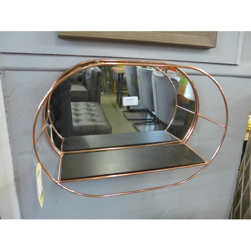 1319 - An oval mirrored copper wall shelf (TJN021017)   #...