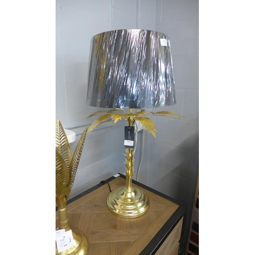 1324 - A gold finish palm tree table lamp with black shade (12430080)   #...