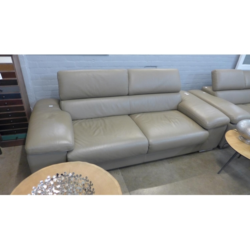 1336 - A Lipari taupe three seater leather sofa, RRP £1275 + vat (204051)  *This lot is subject to vat...