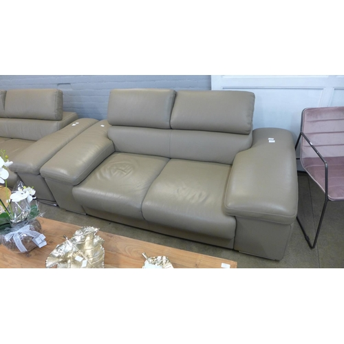 1337 - A Lipari taupe two seater leather sofa, RRP £1275 + vat (204051) (name badge missing to side of sofa...