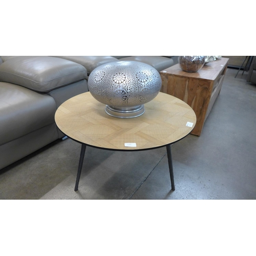 1340 - A circular steel and parquetry lamp table...