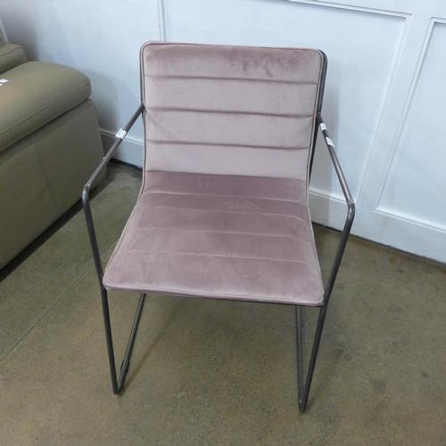 1347 - A pink velvet, steel framed small armchair...