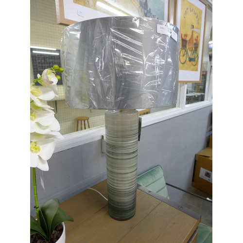 1351 - A banded grey Nazare table lamp with drum shade (NA2422150)...