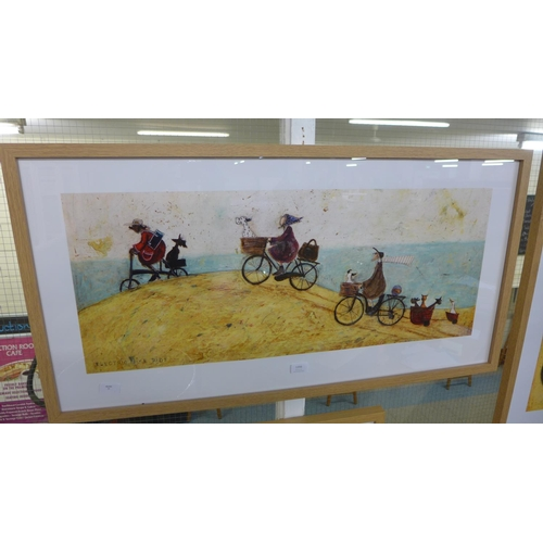 1356 - A framed print, Electric Bike Ride by Sam Toft, 50 x 100cm (PPR4109826)   #...